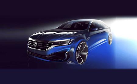 El Volkswagen Passat 2020 deja ver su agresiva fisonomía en estos bocetos antes de su debut en Detroit