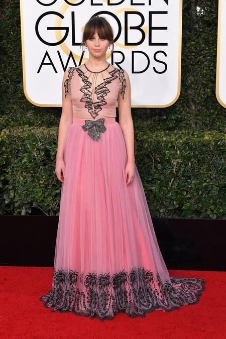 Felicity Jones Gucci Globos De Oro 2017