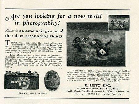cámaras telemétricas: anuncio Leica de 1930