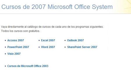 Cursos básicos gratuitos de Office System 2007 y 2003