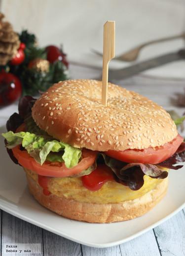 Receta de Papaburger o hamburguesa de tortilla de patatas