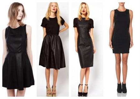 Vestido cuero negro invierno 2014