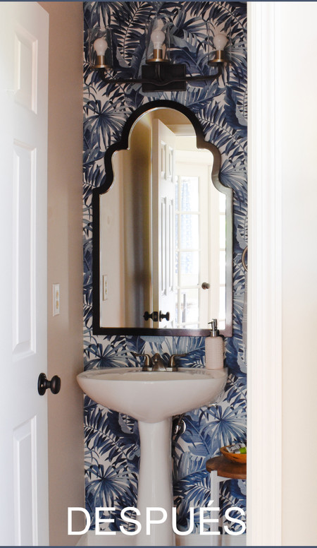 Aaaaaaatmoorebudget Bathroom Makeover Under 500 With Wallpaper Powder Room Wallpaper Just Makes Me Happy Every Time 1t