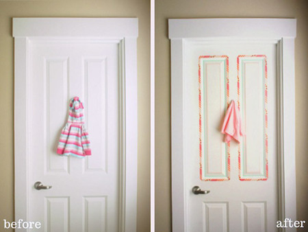 Puerta decorada con washi tape