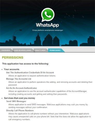 Algunos de los permisos de Whatsapp en el Market