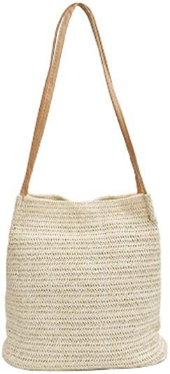 TENDYCOCO bolso bandolera de paja bolso de hombro mujer bolso de mano grande de verano de playa bolso (beige oscuro)