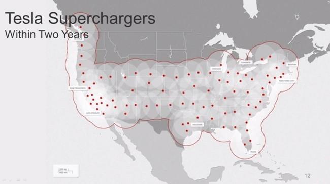 Mapa 2015 Supercargador Tesla