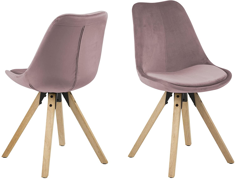 Amazon Brand - Movian Arendsee - Juego de 2 sillas de comedor, 55 x 48,5 x 85 cm, rosa