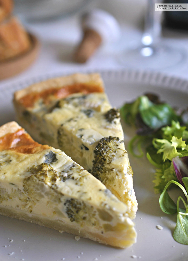 Quiche de brócoli y queso azul. Receta de aprovechamiento