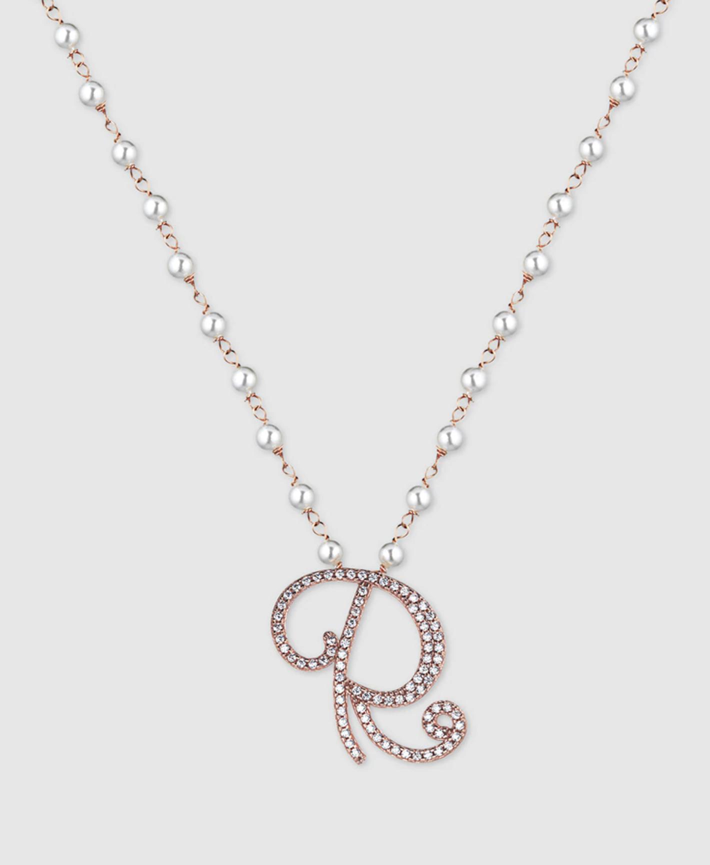 Collar Marcello Pane Letters Inicial R de plata, perlas y circonitas