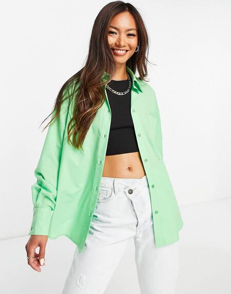 Camisa Dad Verde Holgada Con Bajo Asimetrico De Asos Design