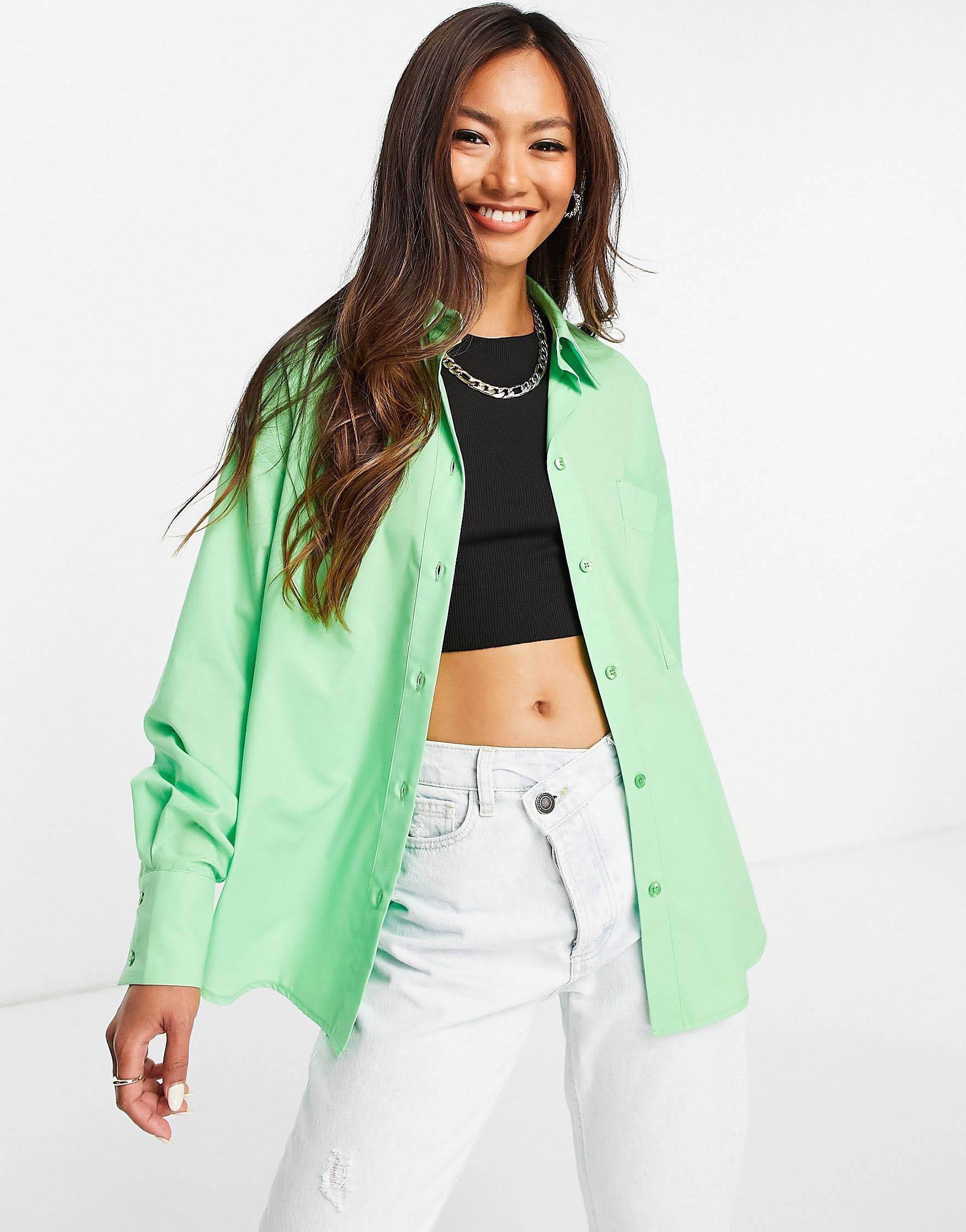 Camisa dad verde holgada con bajo asimétrico de ASOS DESIGN