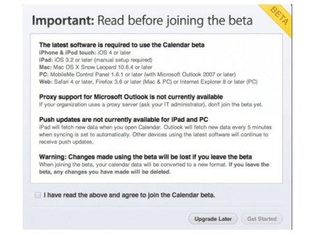Apple abre la beta del nuevo calendario de MobileMe a todos los usuarios
