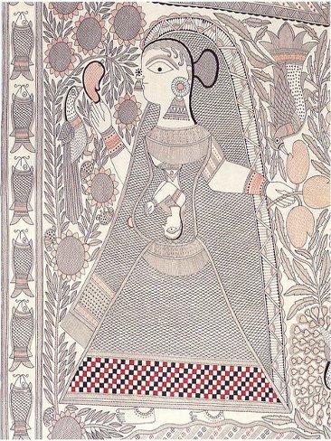 Mujer embarazada en la pintura hindú