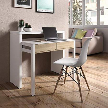 Mesa De Escritorio Extensible En Colores Blanco Y Roble