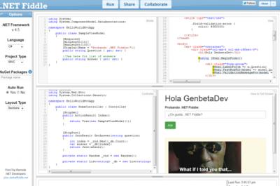 Prueba y ejecuta código C#, VB.NET y F# desde tu navegador