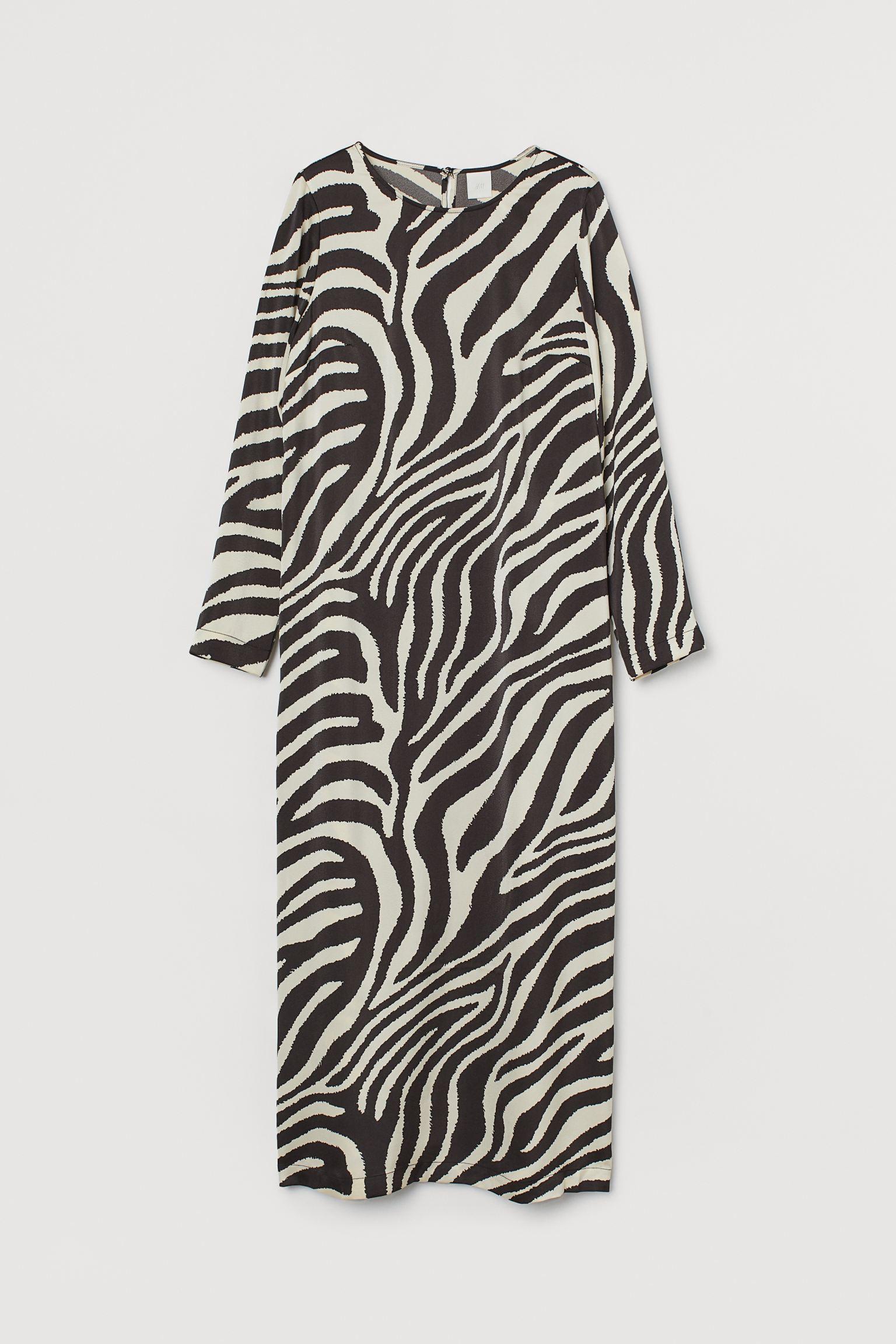 Vestido de satén con estampado de cebra