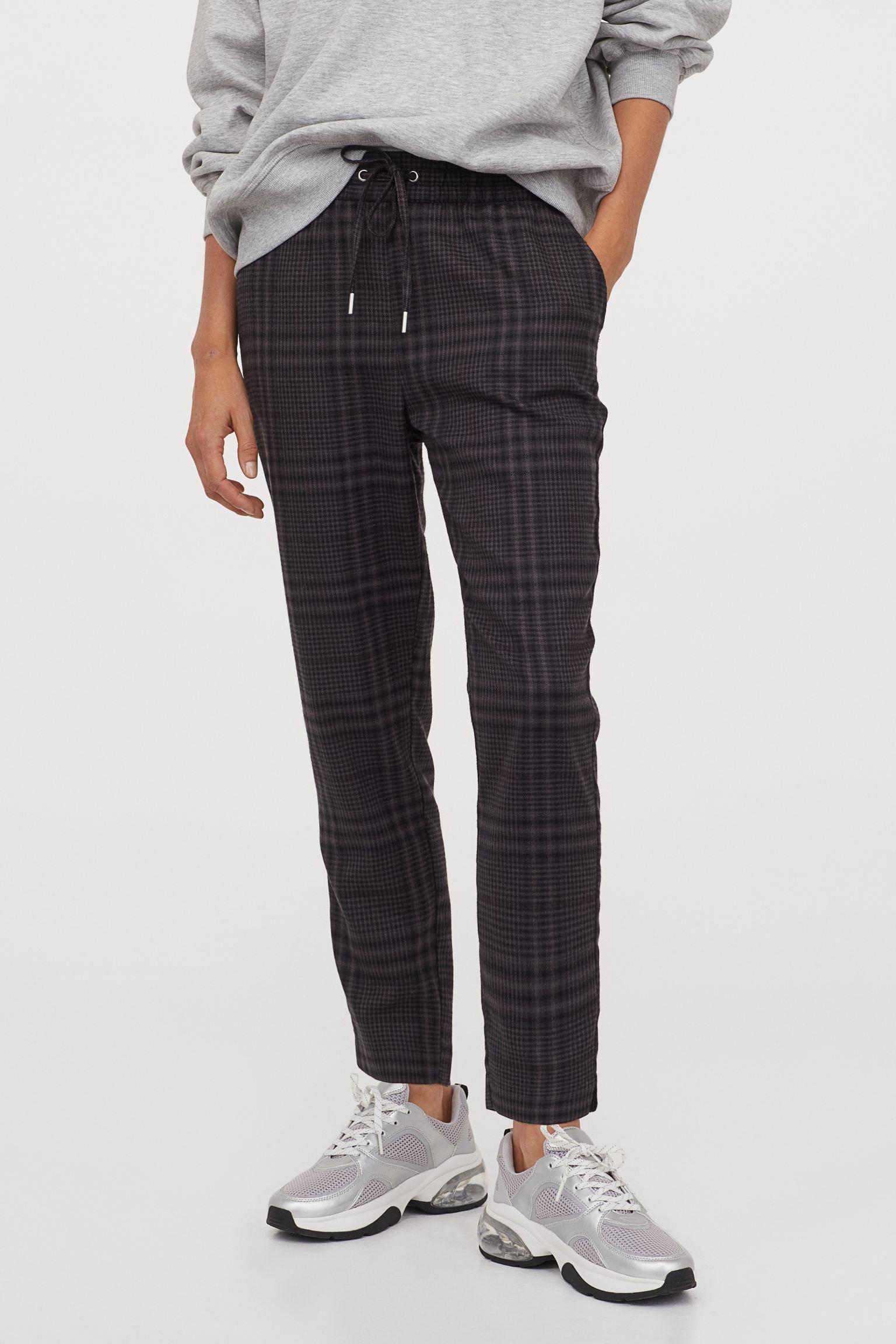 Pantalón de cuadros con cintura elástica