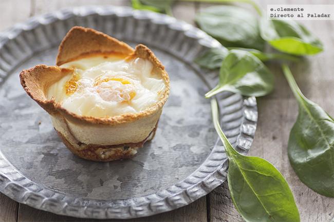 Huevos al horno en tartaleta de pan. Receta