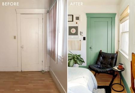Antes y después: un dormitorio, muy personal y lleno de detalles, que se pasa al verde