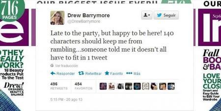 ¡Habemus nueva celeb-tuitera! Drew Barrymore se apunta a los 140 caracteres