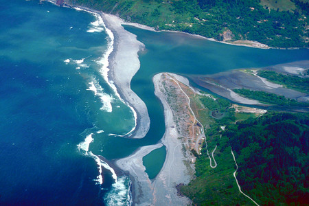 Klamath River Mouth Aerial View
