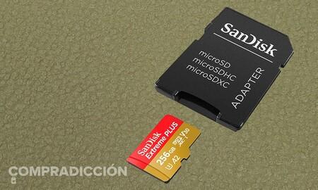 Si necesitas más almacenamiento en tu smartphone esta tarjeta de memoria MicroSDXC te ofrece 256 GB por 30 euros menos: SanDisk Extreme Plus por 71,99 euros en Amazon
