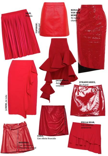 Faldas Color Rojo Ss 2017