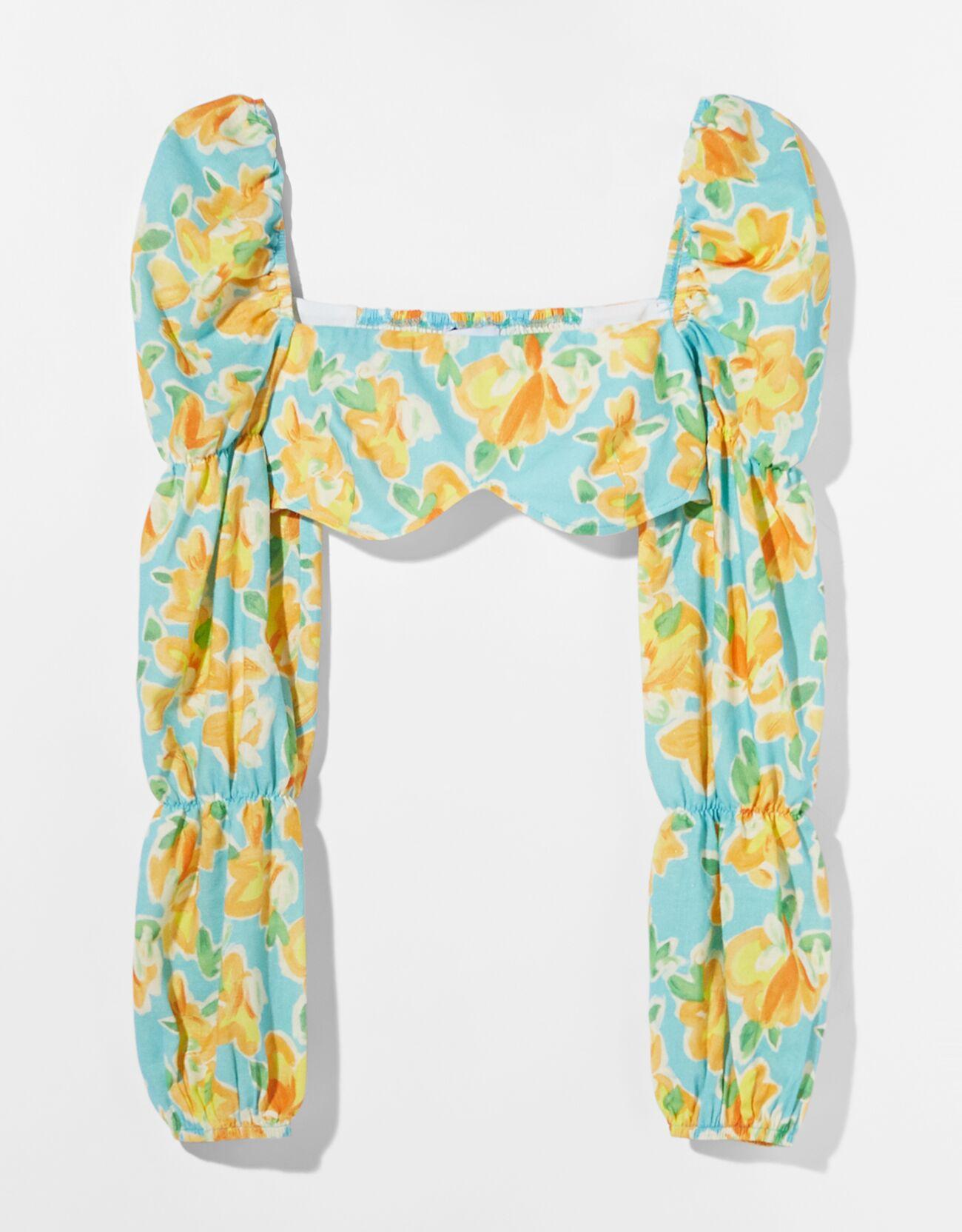 Blusa algodón lino print flores.