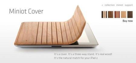 Miniot Cover, funda de madera y magnética para el iPad 2