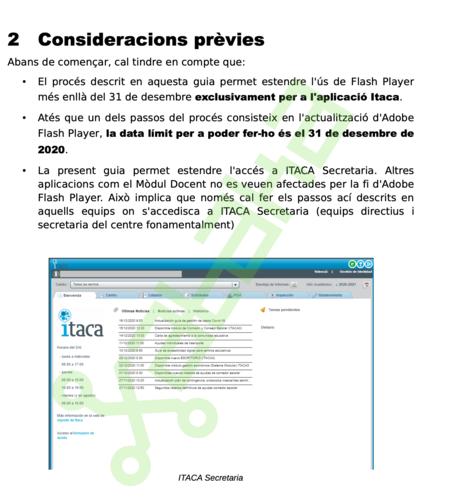 Documento donde la Generalitat Valenciana enseña a configurar el navegador para poder seguir usando Flash.