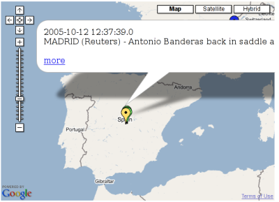 News Maps, noticias de Reuters en mapas de Google
