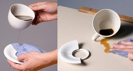 Clumsy, un conjunto de taza y plato muy limpio