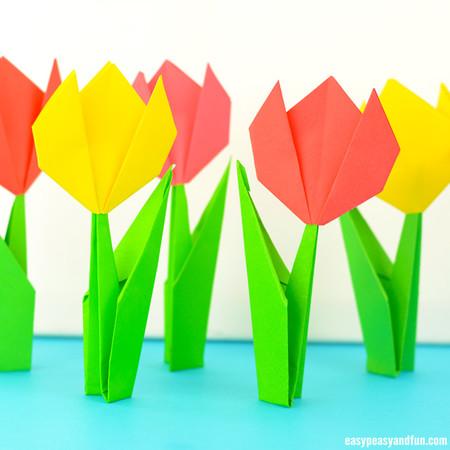 Manualidades Primavera Tulipanes Origami