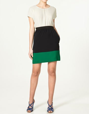 vestido color block zara