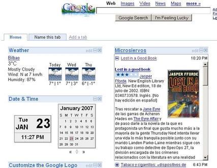Miniaturas de las webs en la página de inicio de Google