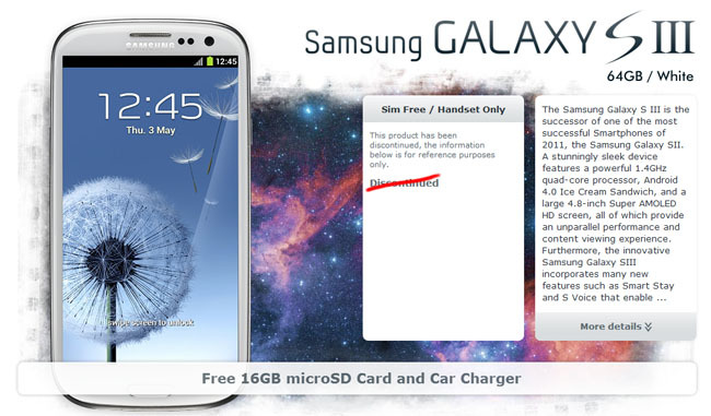 Galaxy SIII versión 64GB