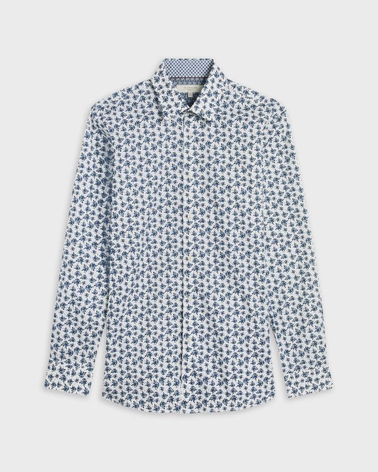 Camisa blanca larga con miro print floral modelo Hicus