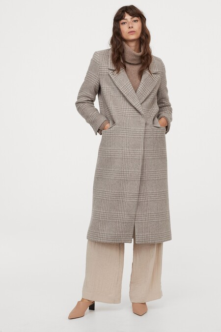 Abrigo largo en mezcla de lana