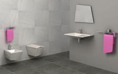 Esepectacular baño en líneas rectas de Olympia Ceramica