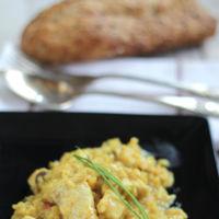 Risotto de pollo al curry. Receta