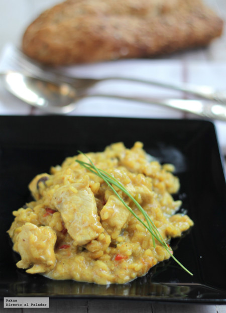 Risotto de pollo al curry. Receta