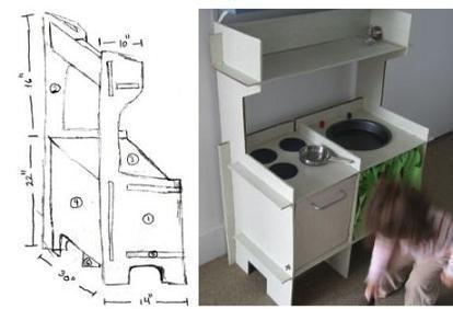 Una cocina para jugar, hecha en casa con cartón