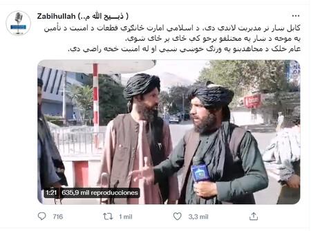 Captura del tuit con el que el portavoz de los talibanes anunció la toma de Kabul.