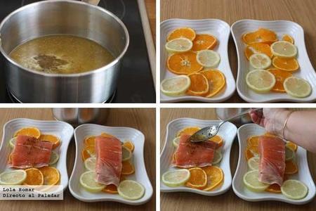 Salmón al horno con cítricos paso a paso