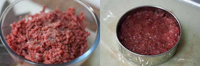 Hamburguesa con cebolla caramelizada y cheddar. Pasos