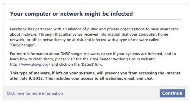 Facebook ayuda en la lucha contra DNSCharnger avisando si detecta la infección