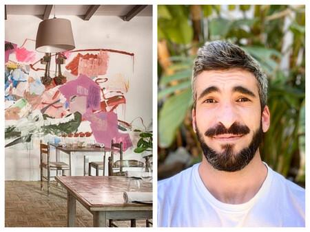 Parte De La Sala De Tohqa Con El Mural Pintado Por Murdo Ortiz Y Juan Perez Al Frente De La Sala Y Los Vinos Del Restaurante C Tohqa