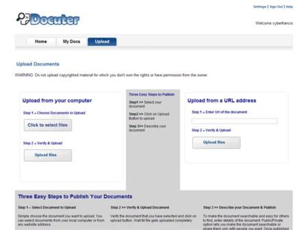 Docuter, sube y comparte tus documentos en Internet
