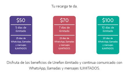 Unefon Ilimitado Recargas 50 70 100 Pesos 30 Dias Ilimitado Llamadas Sms Whatsapp